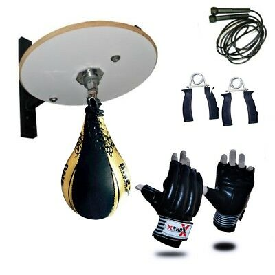 Boxing Speed Ball Platform Set Adjustable Swivel Stand Boxing Bag Mitt Gloves R1