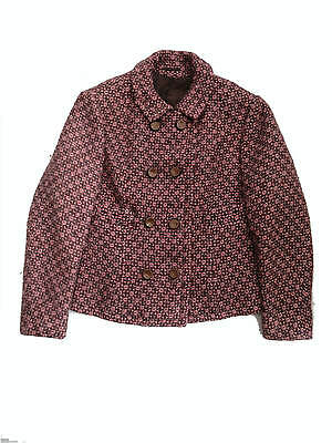 1960s Brown & Pink Wool Tweed Sixties Boxy Vintage Jacket