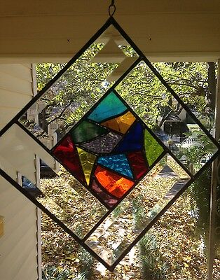 "Stained Glass Window Suncatcher Abstract w/ Bevels ~ Hanging apprx . 11"" x 11"""