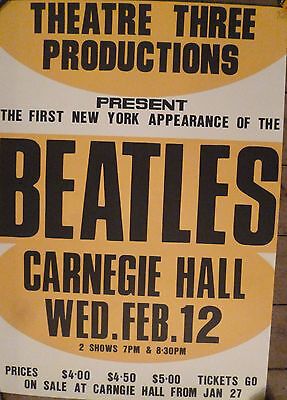 Beatles official concert poster - 1964 Carnegie Hall New York Numbered edition