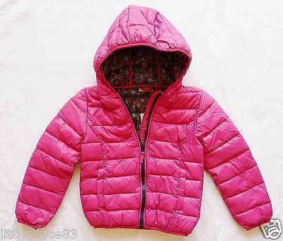 BNWT NEXT NEW Girls bright pink Padded hooded winter jacket shower resistant