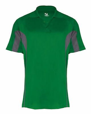 Badger Men's Drive Performance Three Button Placket Polyester Polo Shirt. B3346