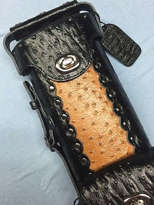 Vincitore Genuine Leather Ostrich Embossed 2 Butt 4 Shaft 2X4 Black Light Brown