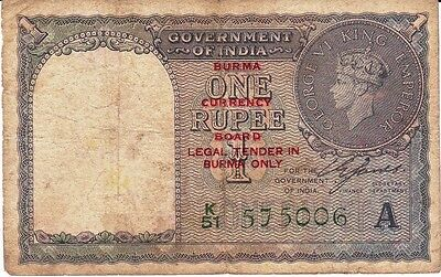 British India Burma Issue Rupees KGVI King George Vi CURRENCY 575006