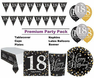 Gold Sparkling 18th Birthday 8-48 Guest Premium Party Pack Tableware Decorations