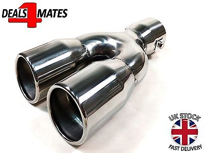 Universal Twin Double Sport Chrome Exhaust Pipe Trim Tip Tail Muffler 35-55Mm
