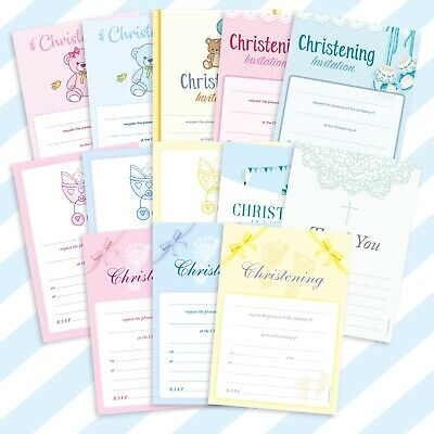 20x A5 Christening Invitations Invites Pads Packs Letters Sheets Boys Girls