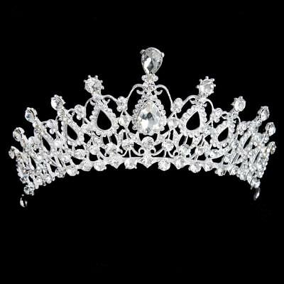 Wedding Party Prom Pageant Crystal Teardrop Headband Tiara Crown Headpiece