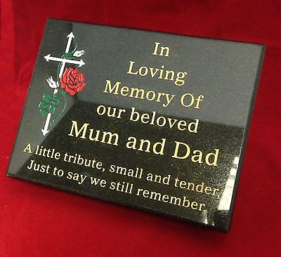 Personalised Sandblasted Black Granite Memorial Grave Plaque Stone Any Wording