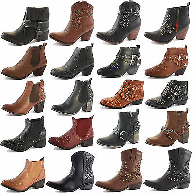 870da26a2f5 LADIES WOMENS WESTERN Cuban Heel Leather Style Vintage Cowboy Ankle Boots  Size