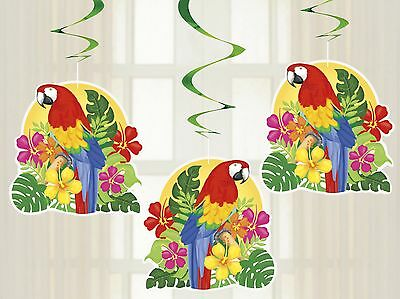 Tropical Island Luau | Parrot Hibiscus Party | Hanging Swirl Decoration 1-18pk