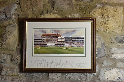 Limited edition cricketing print of the Oval by Terry Harrison  signed