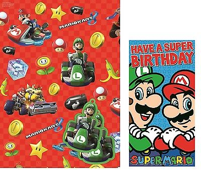 Super Mario | Mario Kart Giftwrap | Gift Tags and Luigi Birthday Card Set