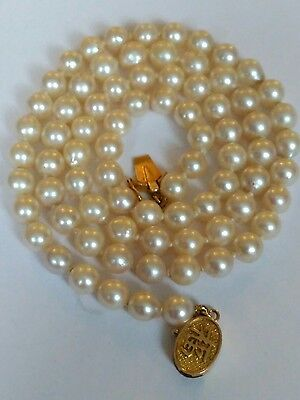 "Beautiful 18"" Pearl Necklace With 14ct Gold Clasp"