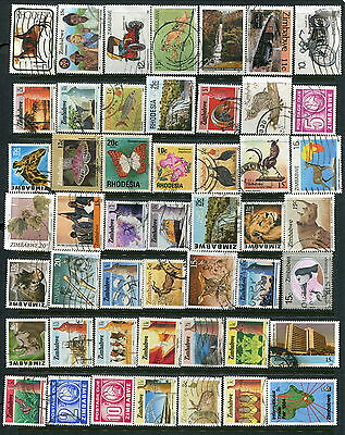 100 Different Used Rhodesia/Zimbabwe Stamps (Lot #d7)