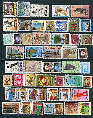 50 Different Used Rhodesia/Zimbabwe Stamps (Lot #d5)