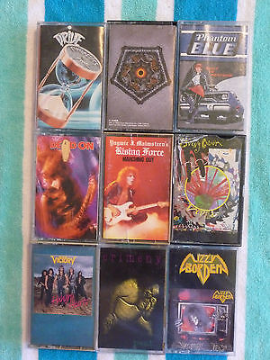 Lot of 9 HEAVY METAL CASSETTE TAPES Testament/Lizzy Borden/Victory/Yngwie