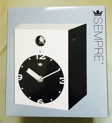 Sempre Cuckoo Clock - Modern Design - Black And White