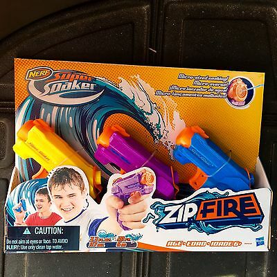 NERF Super Soaker ZipFire 3 Pack Water Pistol Guns Blasters Zip Fire NEW