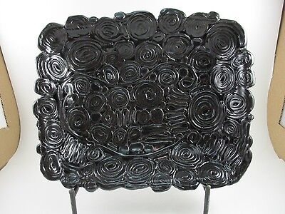 Hand Crafted Art Pottery Shallow Rectangular Dish Black Glaze Circle Design