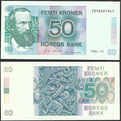 NORWAY - 50 kroner 1990 P# 42e - Edelweiss Coins