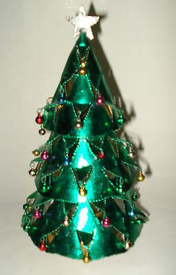 "9"" GREEN METAL CHRISTMAS TREE LANTERN Tea Light Candle Holder & Ornaments PIER 1"