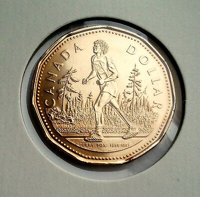 Loonie 2005 Canada Dollar, Terry Fox, BU FROM A MINT ROLL
