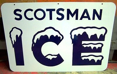 Vintage Scotsman Ice Double Sided Tin Sign With Hanging Bracket - Unused