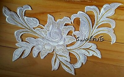 WHITE & Gold Iron on Transfer Embroidered Fabric Flower Patch Applique Motif