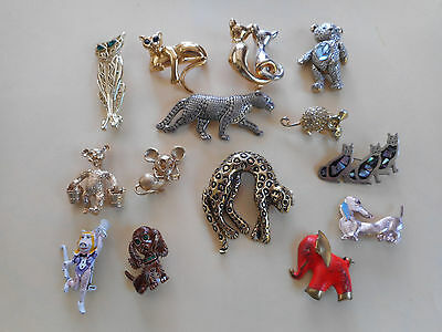 Collection of vintage animal brooches:BOUCHER,D'Orlan,Avon,movable