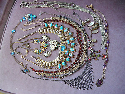 Vintage collection of  miscellaneous necklaces,rhinestone, glass, plastic