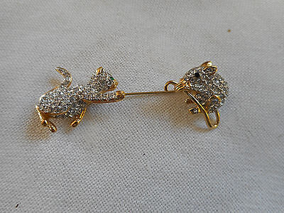 Vintage goldtone pin cat and mouse emerald clear rhinestones