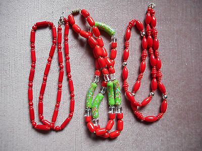 Vintage Collection Venetian Murano Millifiori and red Glass necklaces