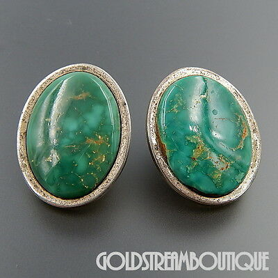 Navajo Signed Sterling Silver Stunning Green Turquoise Oval Post Earrings