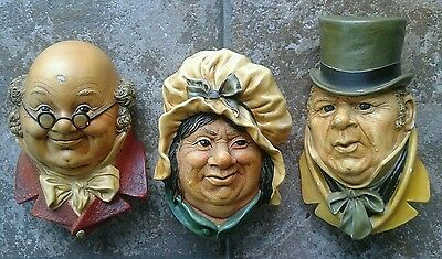 Vintage Pickwick Papers Characters by Bossons 1964 Chalk Busts Set of 3 RARE