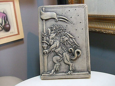 Dragon reproduction of an original wood cut 1610 Wall Hanging Chaulkware Plaque