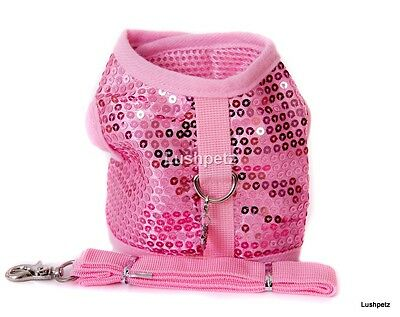 Pink Glitter Sparkly Dog Puppy harness with matching lead Small size chihuahua