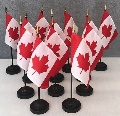 """LOT OF 12 Canadian 4""""x6"""" Miniature Flags With Flag Stands,  Canada Mini Flags"""