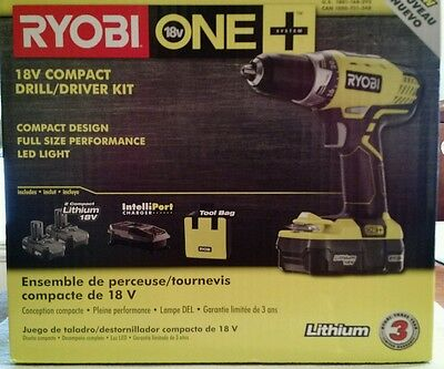 Ryobi P1811 ONE+ 18-Volt Lithium-Ion Compact Drill/Driver Kit - NEW IN BOX