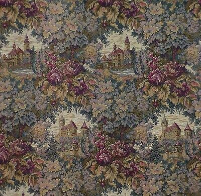 """Antique early 20th Century French Woven Romantic Tapestry Fabric 73"""" x 44"""""""