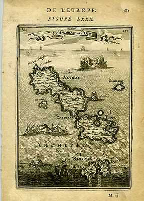 1683 Genuine Antique map Greek Islands of Andro, Tine etc. A.M. Mallet