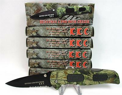 Wholesale Lot of 6 Huntsman Camo Deer Chaser Lockback Pocket Knives Knife A-3