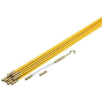 """11' x 3/16"""" Fiberglass Wire & Cable Running Pulling Rods Fish New in Case Kit"""