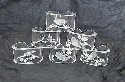 Vintage Lucite Reverse Carved Napkin Rings with Bird Flowers Etchings set of 6