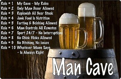 Man Cave Wall Signs, Unique designs for your Man Cave large size Metal Sign