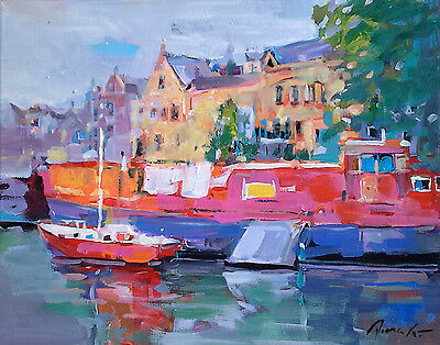 """Original acrylic/oil painting   Red Boats  16""""x20"""" signed Dima K"""