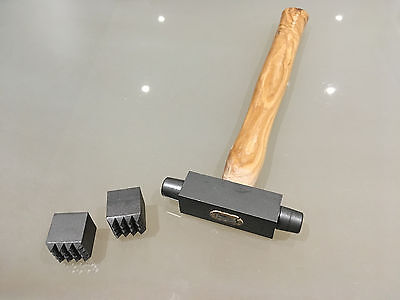 Stone Mason's/Carver's 25mm x 25mm Double Ended Bouchard Hammer Replaceable Ends