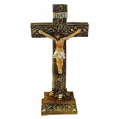 "Jesus on the Cross Crucifix Religion Free Standing Statue Religious Decor 8"" H"