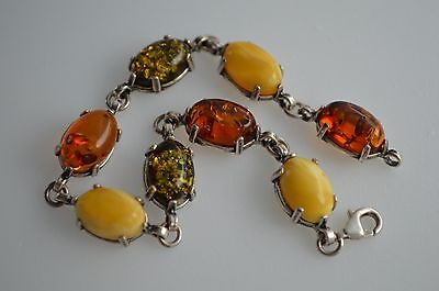 NATURAL BALTIC AMBER Jewellery STERLING SILVER 925 BRACELET