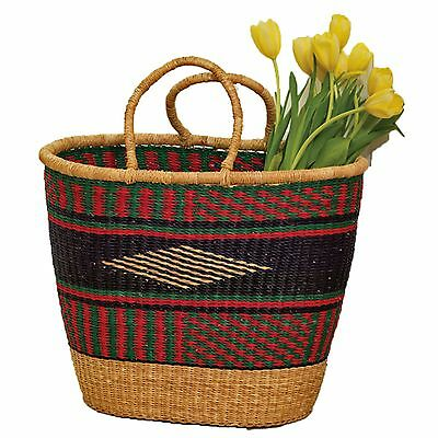 Colorful Grass Market Basket African Hand Woven Africa Art Shopping Tote
